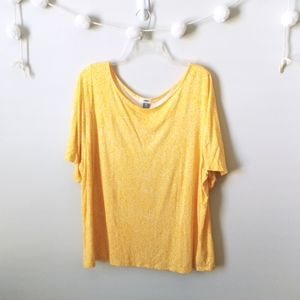Old Navy Yellow Leaf Print Top (XXL)